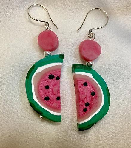 Half Watermelon Earrings