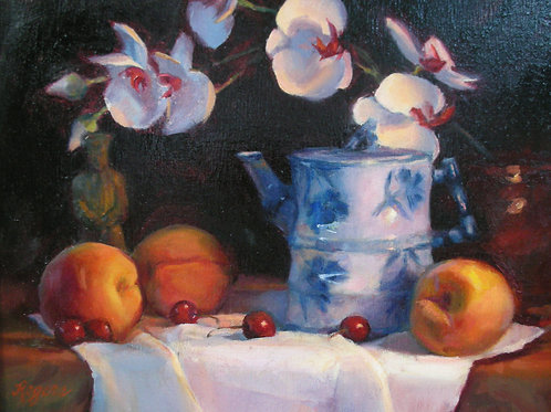 Chinese Teapot and Orchid