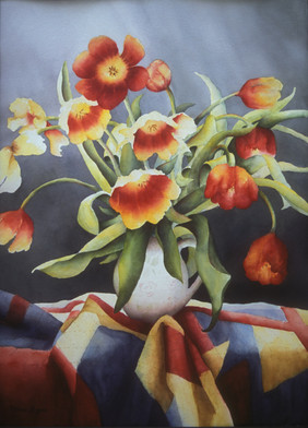 Tulips on Quilt
