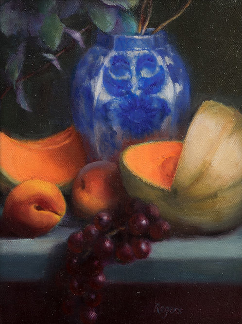 Blue Vase with Melons
