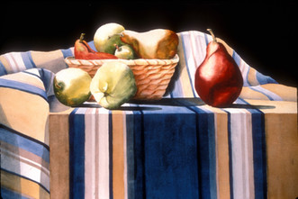 Fruit with Striped Cloth