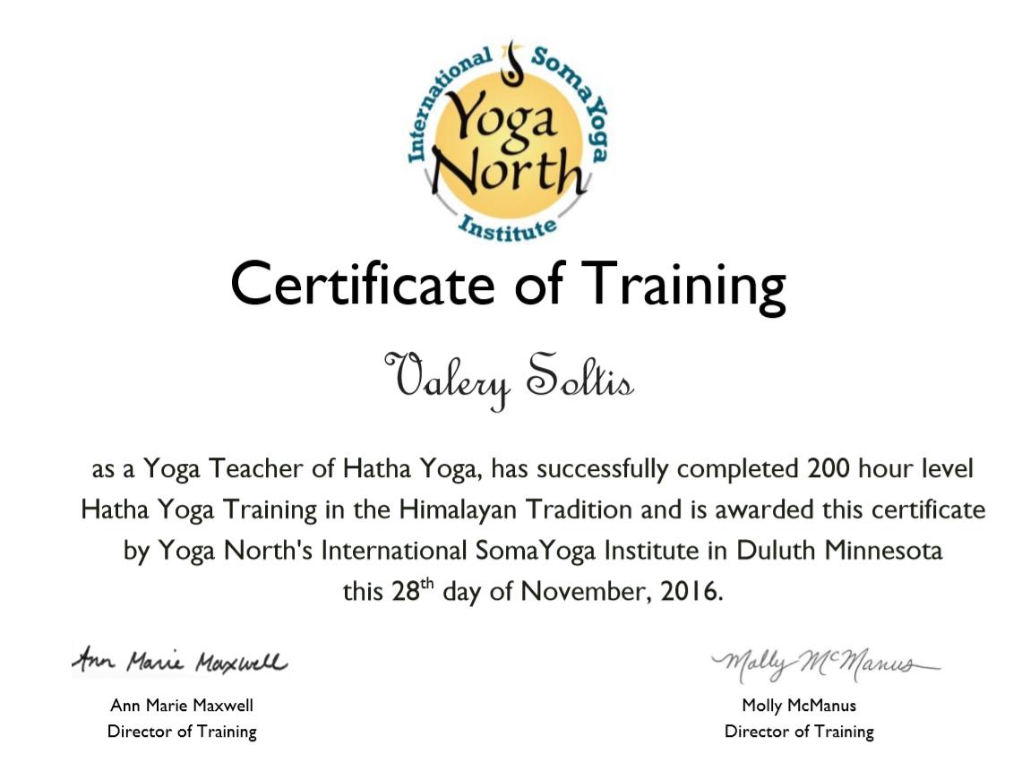 Yoga North Cert