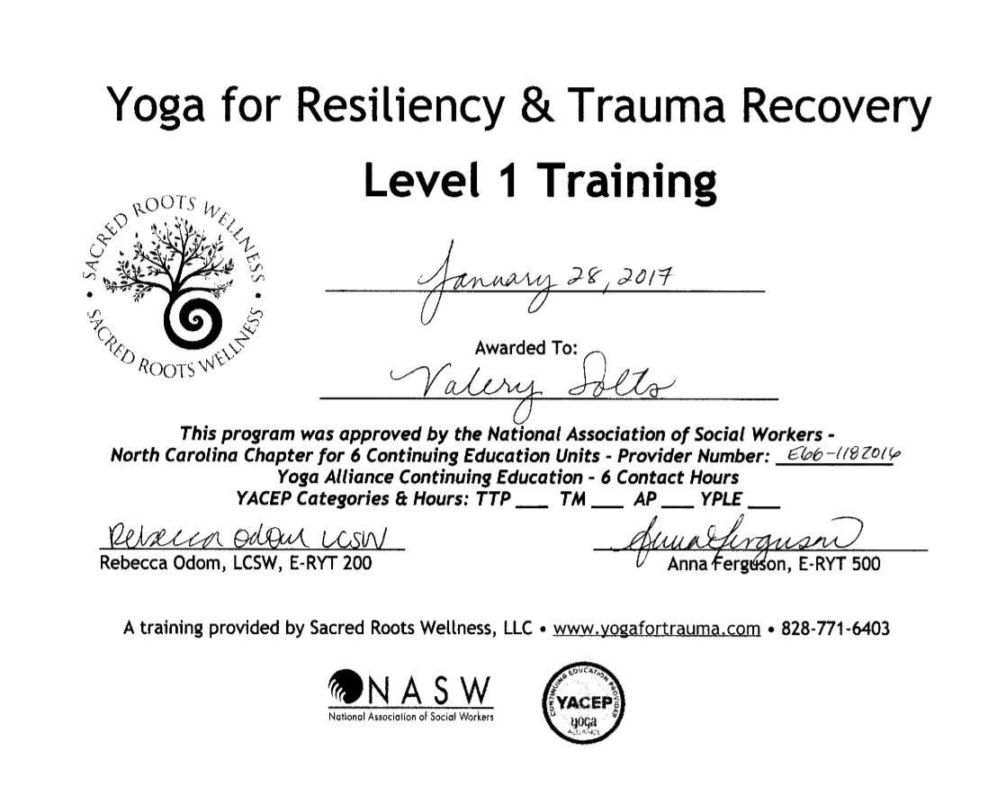 Trauma training cert