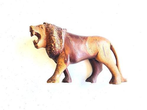 Hand Carved Vintage Wood Lion