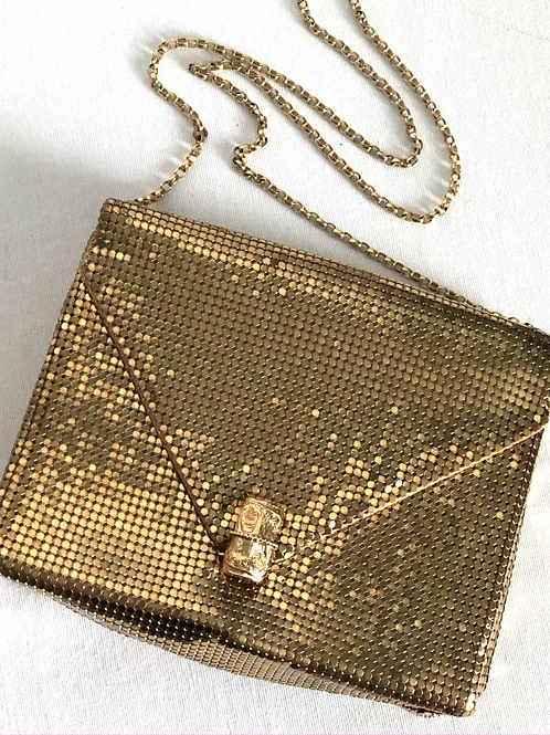 Vintage Whiting and Davis Brass Mesh Shoulder Purse