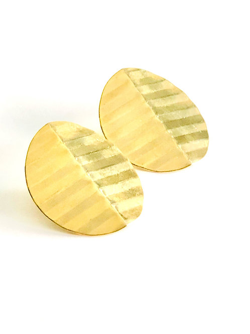 Brass Striped Oval Pierced Statement Earrings