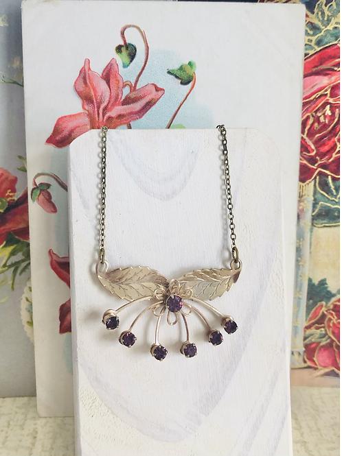 Art Deco Dainty Purple Glass Flower Necklace