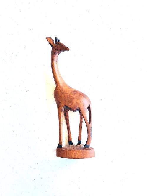 Vintage Hand Carved Giraffe Statue