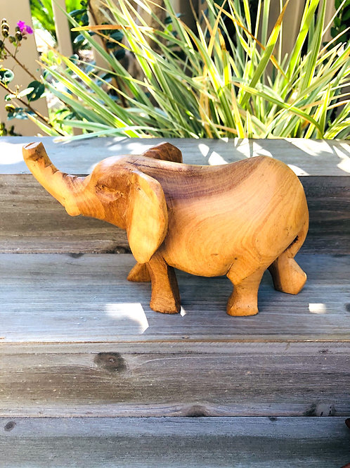 Vintage Hand Carved Wooden Elephant with Trunk Up