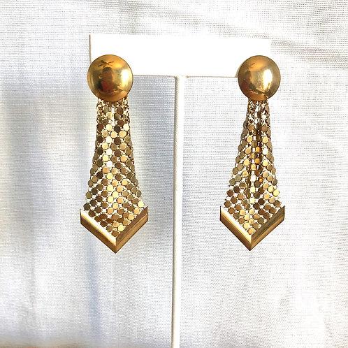 Vintage Metal Mesh Drop Geometric Earrings