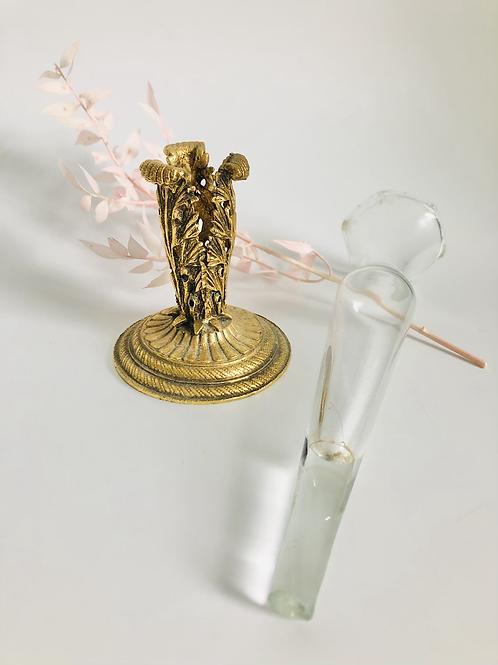 Vintage Brass Flower Holder with Glass Vase