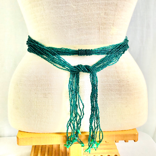 Vintage Teal Glass Beaded Long Necklace/Belt