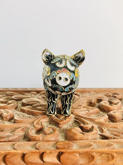 Vintage Black Enamel Cloisonné Pig