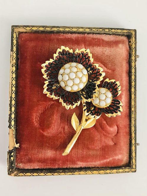 Vintage Black, White, and Gold Double Sunflower Broach Pin