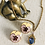 Thumbnail: Spring Style Enamel and Gold Pansy Pierced Earrings