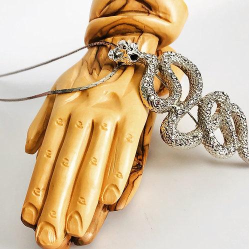 Vintage Large Snake Rhinestone Necklace