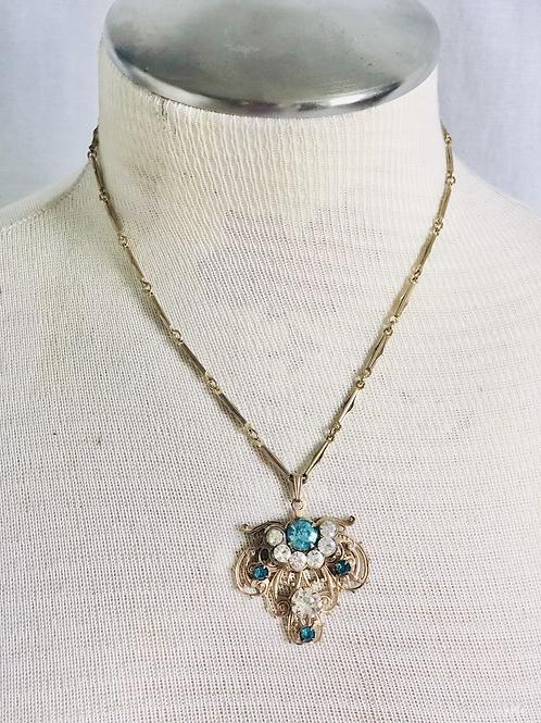 Vintage Aqua Blue Rhinestone and Filigree Pendant Necklace