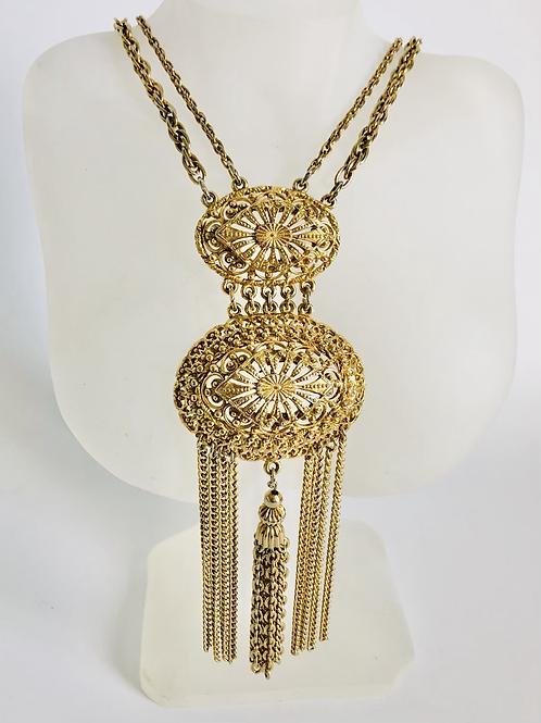 Vintage  Etruscan Style Ornate Statement Necklace