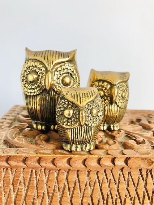 Vintage Brass Owl Family - Set of 3