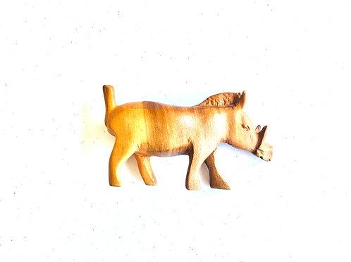 Vintage Hand Carved Wooden Wild Hog