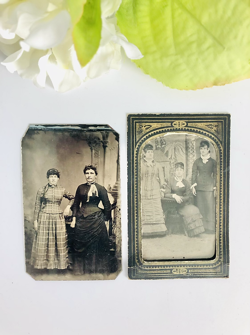 Set of Two Antique Pictures or Tintypes