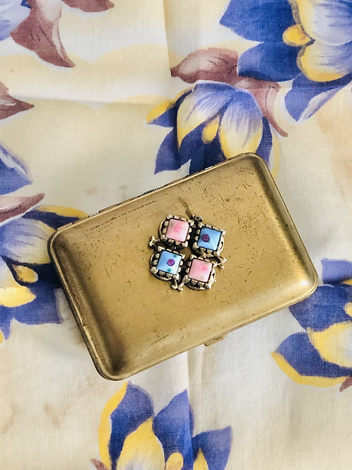 Vintage 1930s Blue and Pink Mondaine Brass Compact