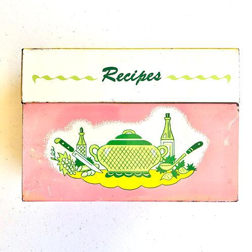 Vintage Pink Recipe Box with Blue Interior