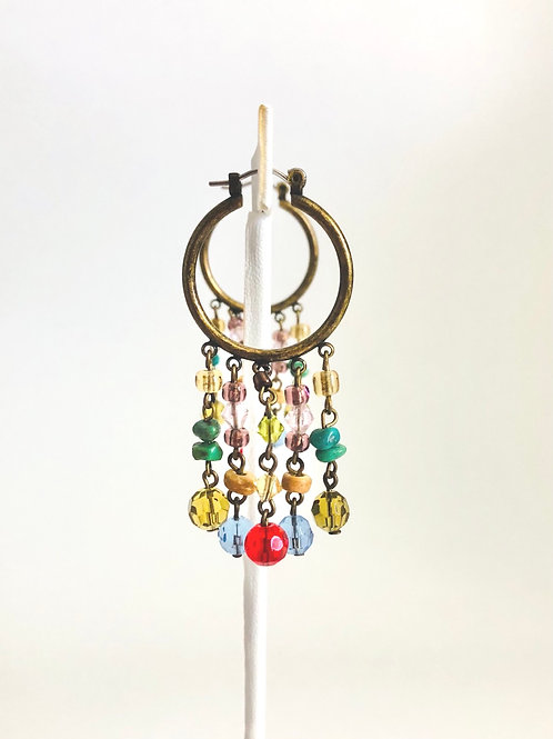 Vintage 1970s Brass Hoops with Turquoise and Glass Dangles