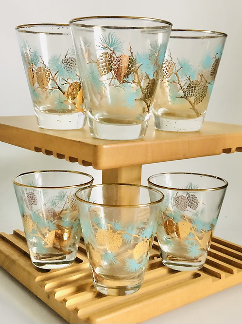Vintage Set of 6 MidCentury Blue and Gold Cocktail Glasses