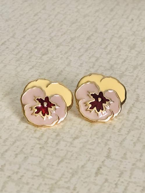 Spring Style Enamel and Gold Pansy Pierced Earrings
