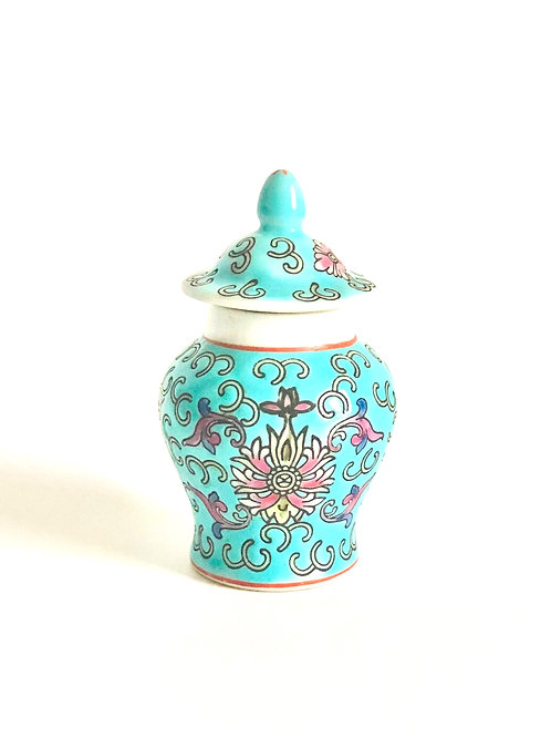 Vintage Teal and Pink Chinese Jar and Lid
