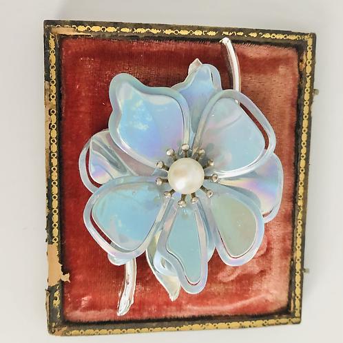 Vintage Iridescent Baby Blue Flower Broach Pin