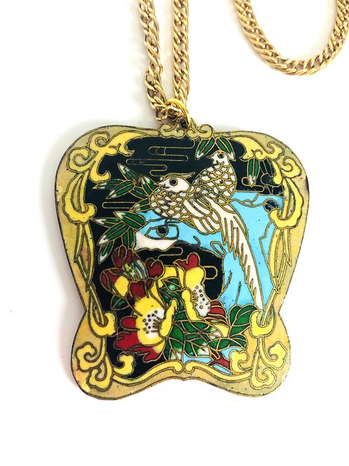 Vintage Yellow Cloisonne Bird Pendant Necklace