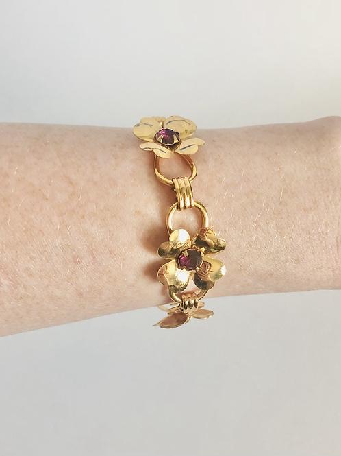Vintage Purple Flower and Gold Rhinestone Bracelet