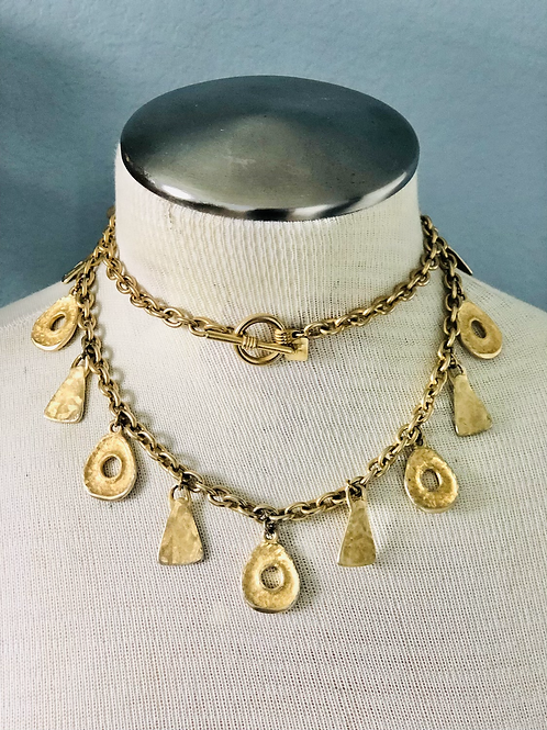 Vintage Gold Anne Klein Abstract Charm Necklace