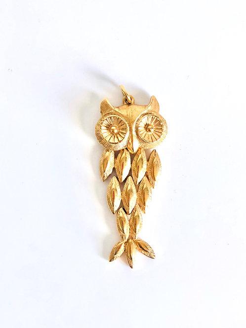 Vintage Goldtone Owl Pendant
