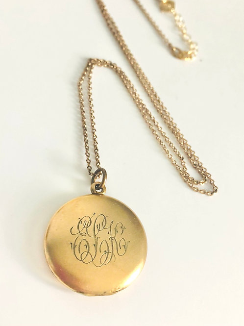 Vintage Goldfilled Round Engraved Locket Necklace