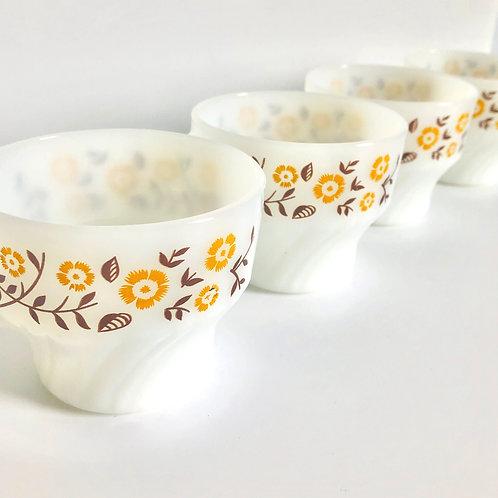 Set of 4 Yellow Flower Vintage Termocrisa Cups