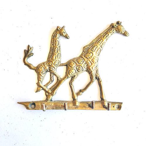 Vintage Brass Double Giraffe Wall Hanger for Keys or Jewelry