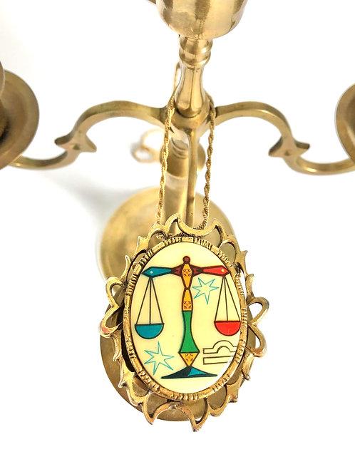 Vintage Colorful Libra Zodiac Pendant Necklace
