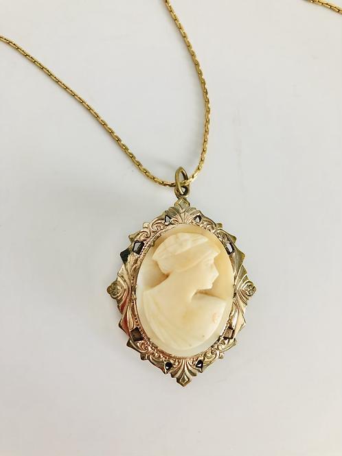 Vintage Carved Cameo Locket Necklace
