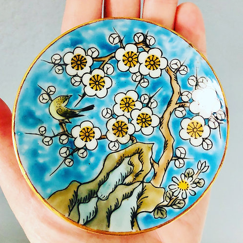 Vintage Blue Catch All Dish with Bird and Flowers