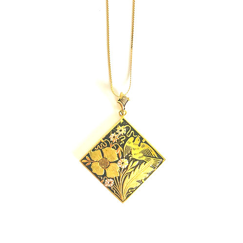 Vintage Damascene Diamond Shape Pendant with Birds
