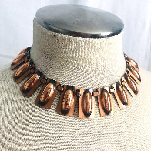 Vintage Mid Century Copper Collar Necklace