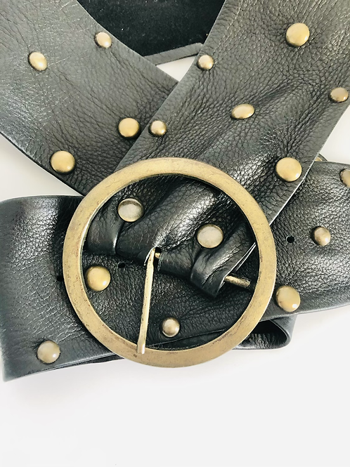 Black Leather and Brass Studded Rocker Belt