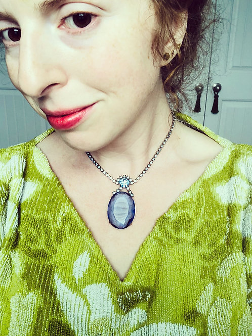 Vintage Large Faceted Blue Oval Rhinestone Necklace
