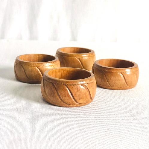 Vintage Wood Carved Napkin Rings Set of 4