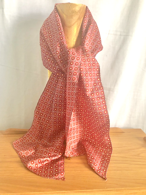 Mauve with Rust and White Polka Dots Scarf and Hair Tie