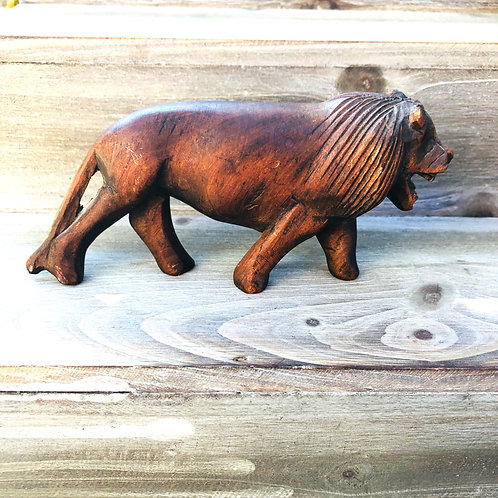 Vintage Smaller Hand Carved Wood Lion