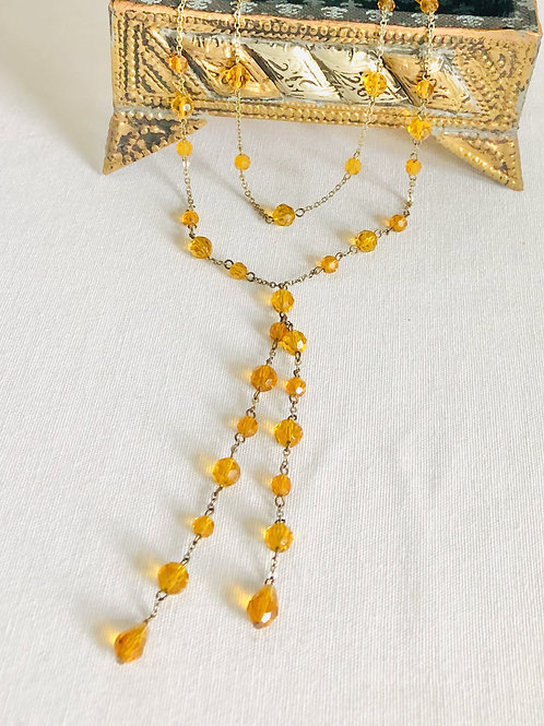 Vintage Style Long Double Chain Orange Glass Bead Necklace